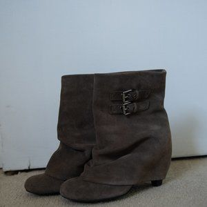 BP. Suede Booties with Buckles on Side